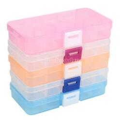10 Compartment Plastic Clear Storage Box Jewelry Craft Beads Container Organizer