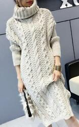 Women high collar sweater Thicken Pullover Dress Long Blouses Slim Fit Tops 2019 $28.57