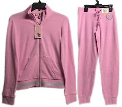Juicy Couture Micro Terry Tracksuit Set 2 Piece Jacket amp; Pants Bubble Pink New $49.99