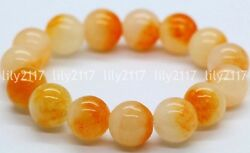 Natural 10mm Yellow Jade Gemstone Round Beads Stretchy Bangle Bracelet 7.5'' AAA