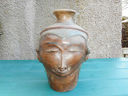 Chinese Earthenware Pottery Head Face Storage Jar  ( Help Identify )