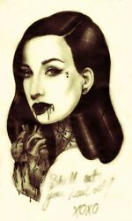 She'll Eat Your Heart Out by Amy Dowell Monster Tattoo Framed Wall Art Print