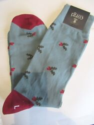 NEW Corgi Lightweight Cotton MENS Large Socks Wales HOLIDAY Holly Berries Blue $24.99