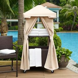 Crosley Palm Harbor Wicker Outdoor Towel Valet with Cover Sand