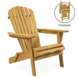 BCP Folding Wood Adirondack Chair Accent Furniture w Natural Finish - Brown