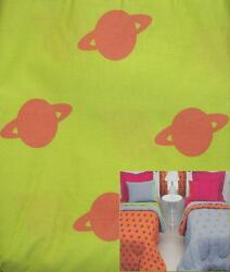 SOLAR PLANETS BY LITTLE MISS MATCHED GREEN ORANGE QUEEN BED SKIRT BEDDING NEW