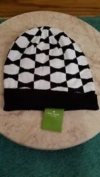 Kate Spade Womens Black & White Signature Bow Beanie Knit Hat $48