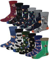 Different Touch 12 Pairs Men#x27;s Assorted Sports Design Crew Socks 10 13 $11.99