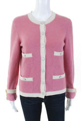 Chanel Womens Pocket Front Cardigan Sweater Pink Ivory Cashmere Size EUR 38