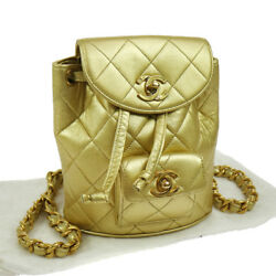 Authentic CHANEL Quilted Chain Backpack Bag Gold Leather Vintage GOOD N20015
