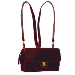 Auth CHANEL Quilted CC Chain Backpack Bag Bordeaux Velvet Leather VTG AK21839