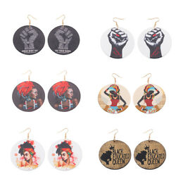 Sketch African Woman Painted Round Wooden Drop Earrings for Fashion Girl Jewelry