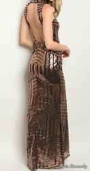 Gold And Black Sequin Long Party Dress $25.00