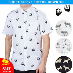 Mens Short Sleeve Novelty Animals Printed Button Down Up Casual Shirt $24.99