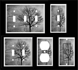 TREES FOREST BLACK GRAY  TONES LIGHT SWITCH COVER PLATE      OR OUTLET $6.29