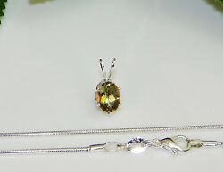 8x6 Oval Mango Mystic Topaz Sterling Silver Pendant wChain Necklace