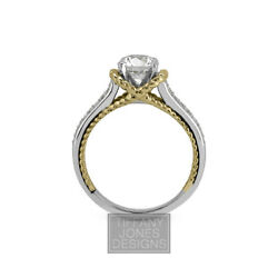 2.42ct tw K-VS2 VG Round AGI Natural Diamonds 18k Cathedral Pave Rows Ring 7.2gr