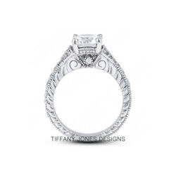 1.90ct tw D-SI2 Exc Round AGI Natural Diamonds 14k Split Band Milgrain Ring 5.8g