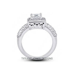 3.59ct tw F-SI3 Ex Radiant AGI Natural Diamonds 18k Pave-Rows Vintage Ring 14.8g