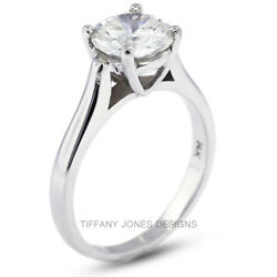 2.75ct E-I1 Exc Round AGI Natural Diamond 950 PL. Cathedral Engagement Ring 8.7g