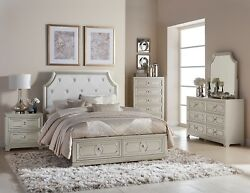 4 PC GRAY SILVER CRYSTAL TUFTED QUEEN STORAGE BED NS DRESSER BEDROOM FURNITURE