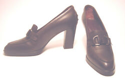 Brown Leather TOD#x27;S 3 1 4quot; Stack HEELS Shoes BUCKLE Rubber Nub Design 5.5 US $48.00
