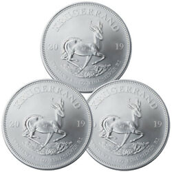 Lot of 3 2019 South Africa 1 oz Silver Krugerrand R1 Coins GEM BU SKU56935