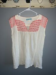 Francesca#x27;s Red and White Bohemian Tank Size Small $10.00