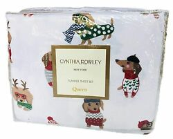 Cynthia Rowley Christmas Dachshund Weiner Dog 4 pc Flannel Queen Size She... New