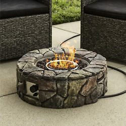 BCP Outdoor Stone Gas Fire Pit w Ignition Button Flame Control Knob - Multi