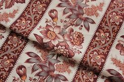 Antique fabric French madder brown printed cotton floral amp; stripe picotage 1870 $75.00