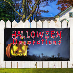 Vinyl Banner Sign Halloween Decorations #1  Style A Marketing Advertising Blue