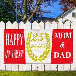 Vinyl Banner Sign Happy 25Th Mom Dad Wreath Gold Red Marketing Advertising Red