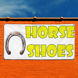 Vinyl Banner Sign Horse Shoes Business Horse Shoes Marketing Advertising White