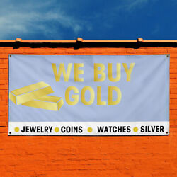Vinyl Banner Sign We Buy Gold Jewelry Coins Watches Silver Business Blue