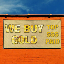 Vinyl Banner Sign We Buy Gold Business Style T Marketing Advertising Brown