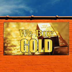 Vinyl Banner Sign We Buy Gold #1 Business Gold Marketing Advertising Yellow