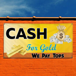 Vinyl Banner Sign Cash For Gold We Pay Top $ #1 Style A Marketing Advertising