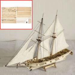 DIY 1:100 Scale Wooden Sailboat Ship Kits Home Model Decoration Boat Toy Gifts