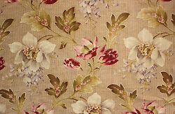 Floral Fabric Large Scale Wisteria Indienne Floral Cotton Antique French c1900 $95.00
