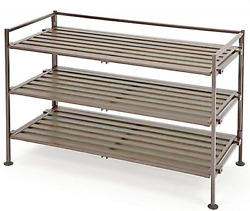 Utility Shoe Rack Store Slat Shelves Iron Espresso Multiple 3-Tier Easy Storage