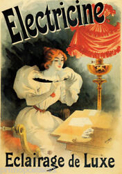 FRENCH LAMPS ELETRIC ELECTRICINE LIGHTING LUXURY WRITING VINTAGE POSTER REPRO $62.90