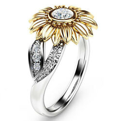 Crystal Sunflower Ring Women Girls White Topaz Wedding Ring Band Size 6-10 Gift