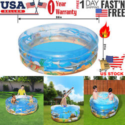 59 Inch Round Inflatable Swimming Pool Backyard Water Play Fun For Kids Outdoor