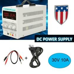 30V 10A Variable Digital DC Regulated Power Supply Adjustable Lab Grade w Cable $71.69