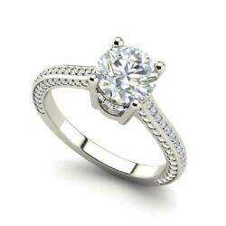Micropave 3.25 Carat VVS2F Round Cut Diamond Engagement Ring White Gold