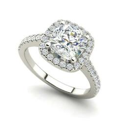 Halo Pave 1.95 Carat VVS2F Round Cut Diamond Engagement Ring White Gold