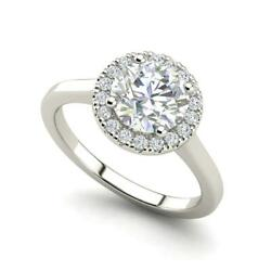 Pave Halo 2.15 Carat VVS2F Round Cut Diamond Engagement Ring White Gold