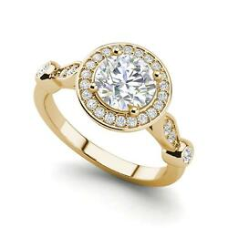 Halo Solitaire 2.95 Carat VVS2F Round Cut Diamond Engagement Ring Yellow Gold