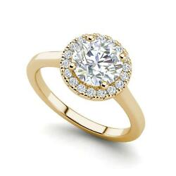 Pave Halo 2.15 Carat VVS2F Round Cut Diamond Engagement Ring Yellow Gold
